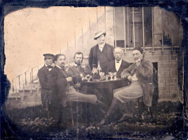 VAN_GOGH,1887_(third_from_left)_with_GAUGUIN,_Emile_BERNARD,_Félix_Jobbé-Duval_and_André_Antoine